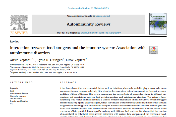 Interaction between food antigens and the immune system: Association with autoimmune disorders