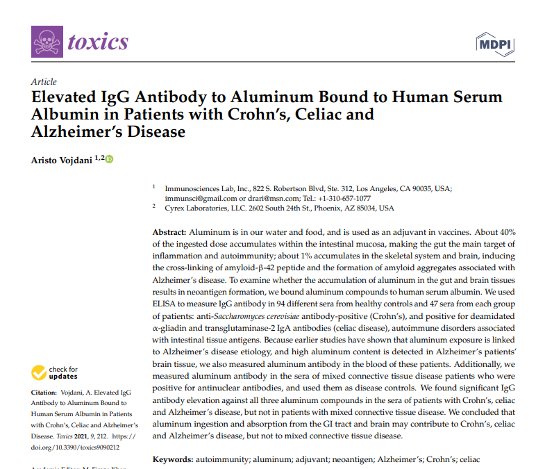 Elevated IgG Antibody to Aluminum Bound to Human Serum Albumin in Patients with Crohn's, Celiac and Alzheimer's Disease
