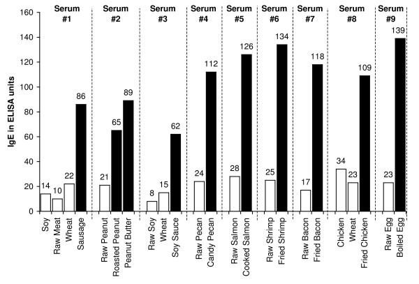Detection of IgE, IgG, IgA and IgM antibodies against raw and processed food antigens